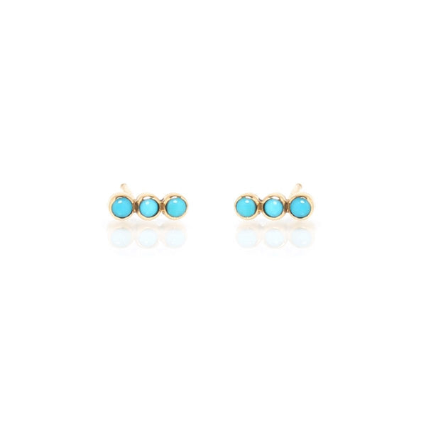 14K Gold Studs Three Turquoise Stone Earrings Stud |Joe Chicco | Fine Jewelry