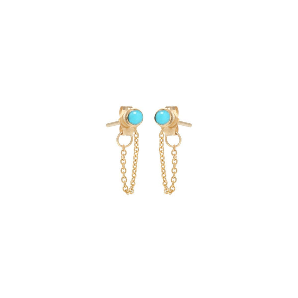 14K Gold Turquiose With Chain Earrings |Joe Chicco | Fine Jewelry