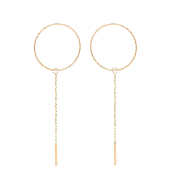 14K Gold Large Open Circle Threader Earrings |Joe Chicco | Fine Jewelry