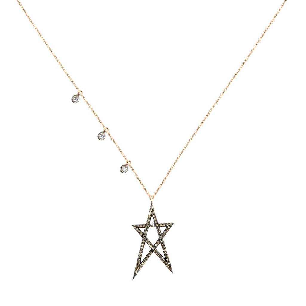 14K Rose Gold Stuck Doodle Star Necklace | Kismet by Milka | Fine Jewelry Necklace