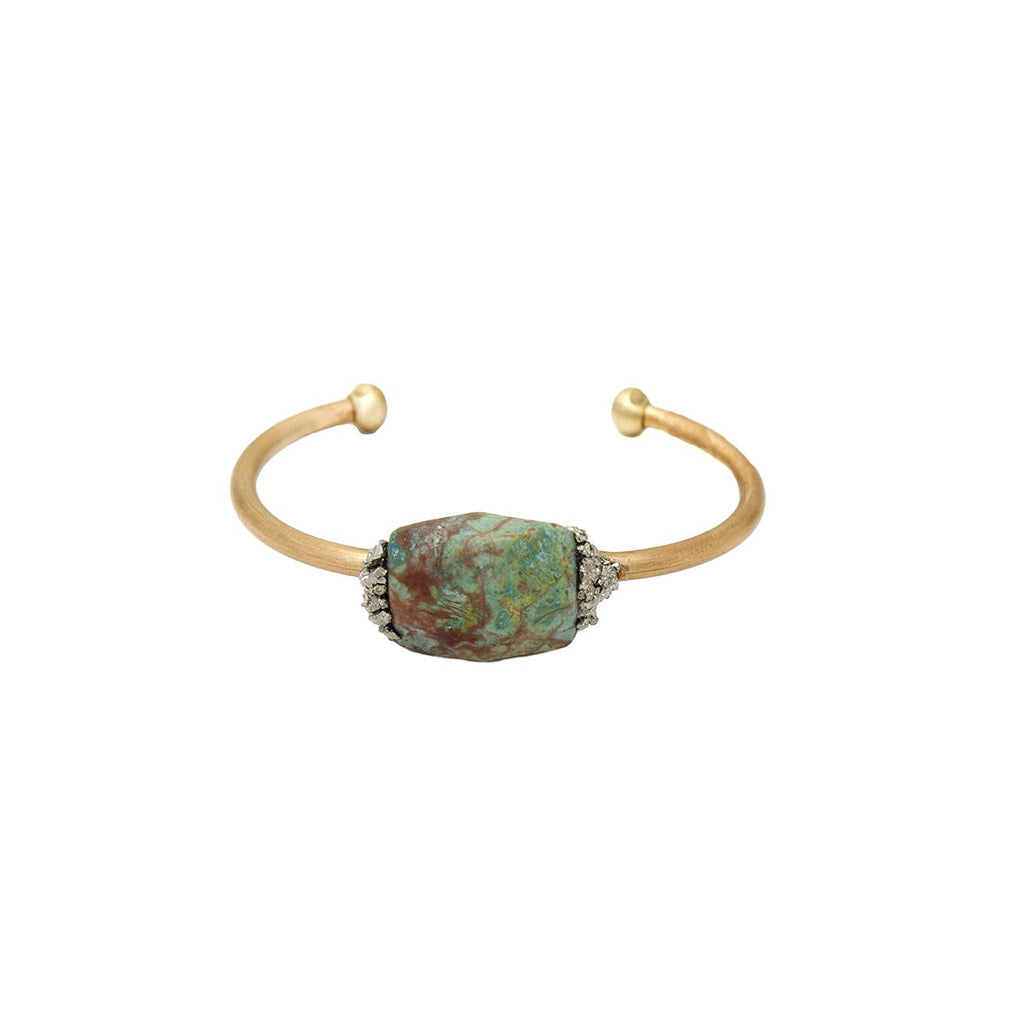 Amazonite Brass Cuff | Marly Moretti | Fashion Accessories | Bracelets