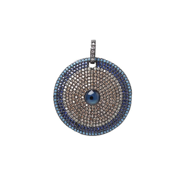Round Pave Evil Eye Pendant | OMG | Fashion Accessories | Pendant