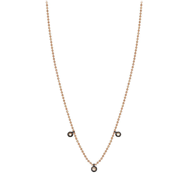 14K Rose Gold Three Solitaires Champagne Necklace | Kismet by Milka | Fine Jewelry Necklace
