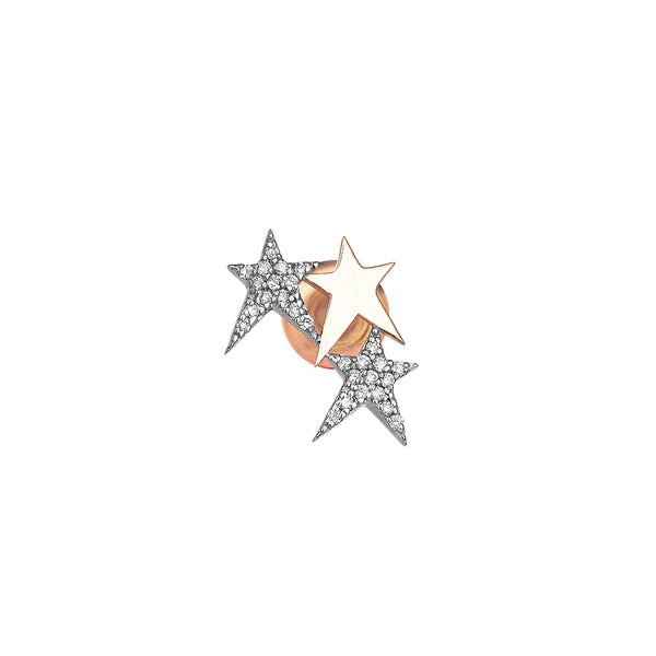 14k Rose Gold Three Star Struck Earring | Kismet by Milka | Fine Jewelry | Earring