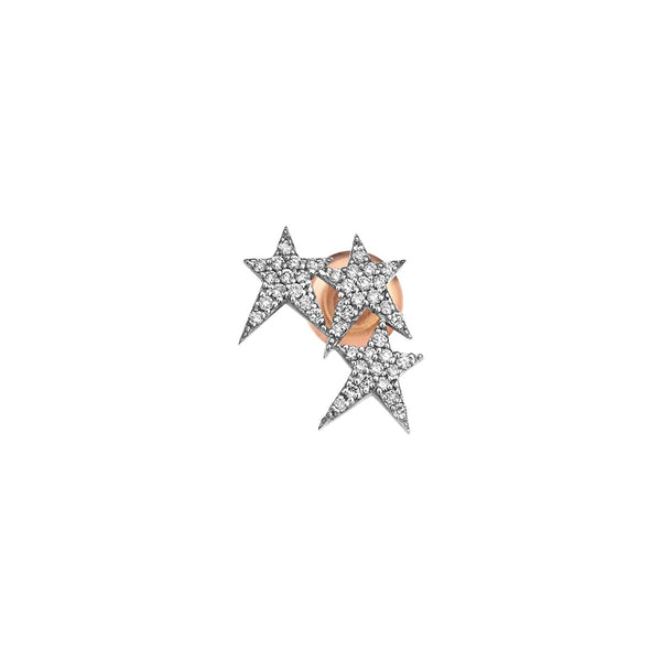 14K Rose Gold Three Struck Star Stud Earring | Kismet by Milka | Fine Jewelry Earring