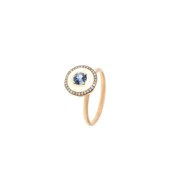 18K Rose Gold Blue Sapphire And Ivory Enamel Ring | Selim Mouzannar |Fine Jewelry | Ring