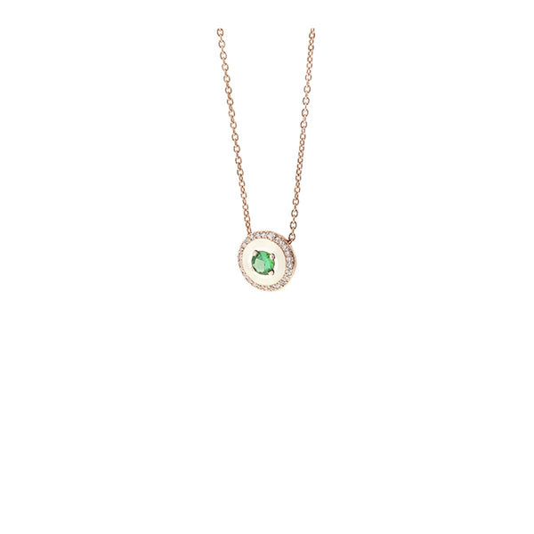 18K Rose Gold Tsavorite And Ivory Enamel Necklace | Selim Mouzannar |Fine Jewelry | Neckalace