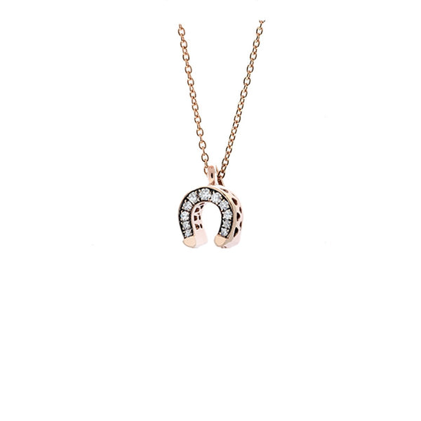18K Rose Gold Horseshoe Champagne Diamonds Necklace | Selim Mouzannar |Fine Jewelry | Neckalace