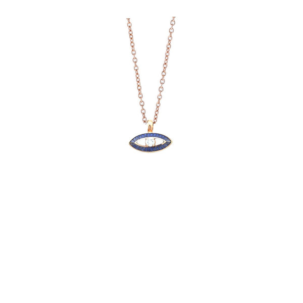18K Rose Gold Blue Enmel And Ivoory Eye Necklace | Selim Mouzannar |Fine Jewelry | Neckalace