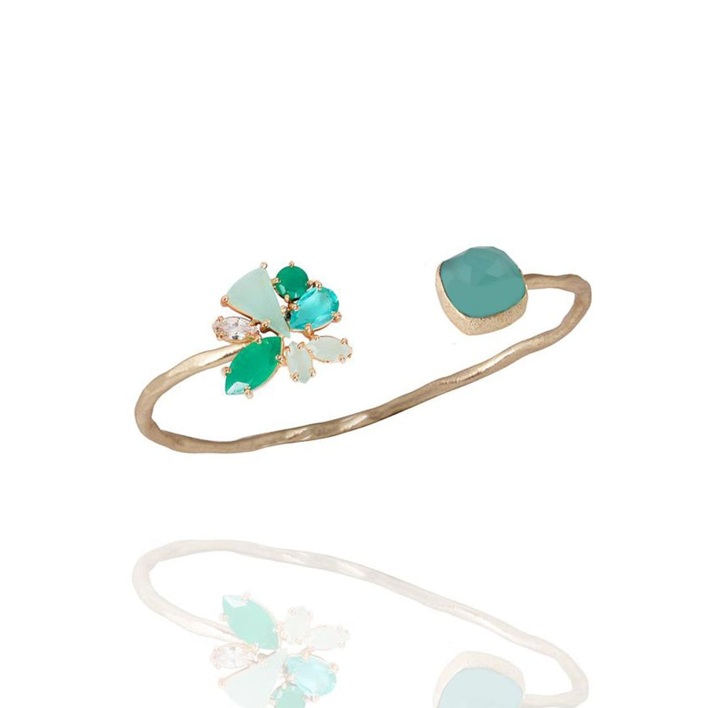 Green Chalcedony And Onyx Open Bangle | Atelier Mon | Fashion Accessories | Bracelet