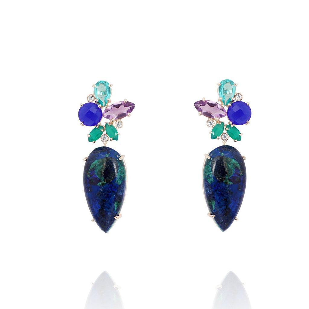 Azurite And Dark Chalcedony Earrings | Atelier Mon | Fashion Accessories | Earrings