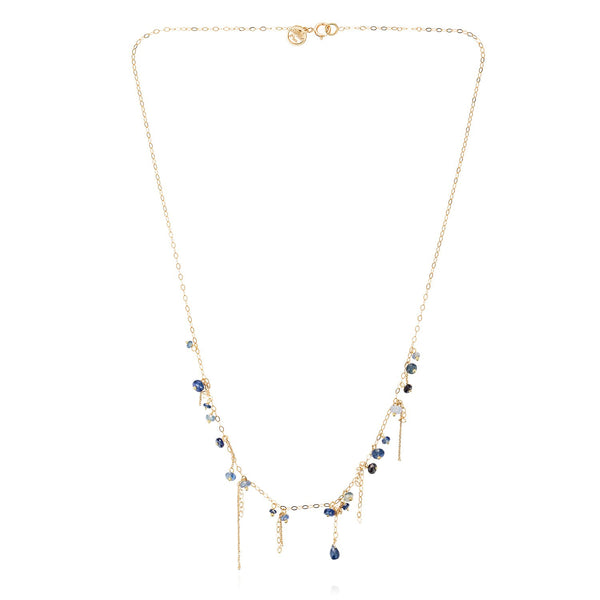 18K Gold Pogo Punk Short Blue Sapphire Necklace | Sweet Pea | Fine Jewelry | Necklace