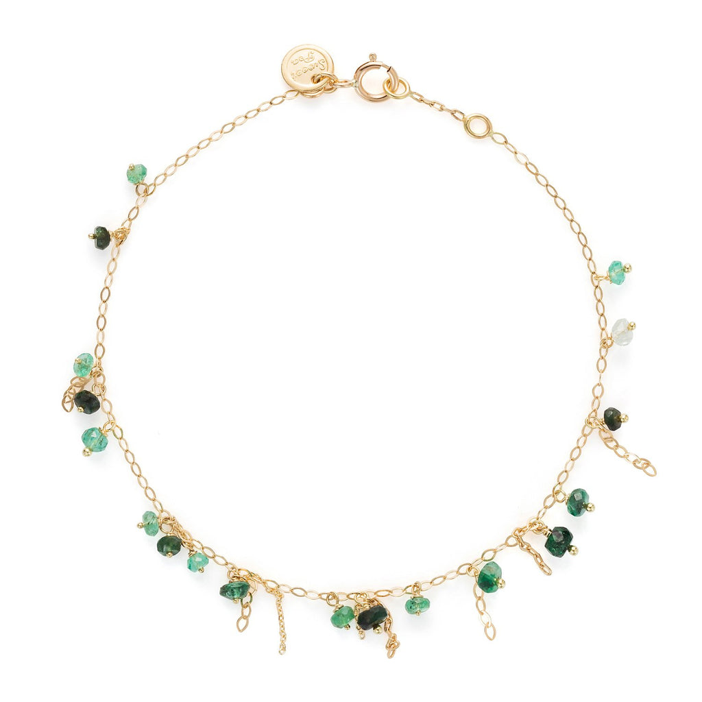 18K Gold Pogo Punk Emerald Beaded Bracelet | Sweet Pea | Fine Jewelry | Bracelet