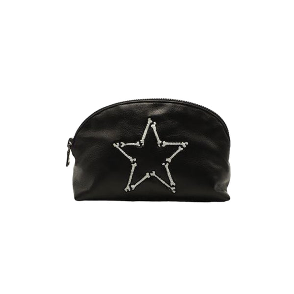 Bone And Star Leather Make Up Pouch | Lauren Moshi | Bag | Beauty Cases