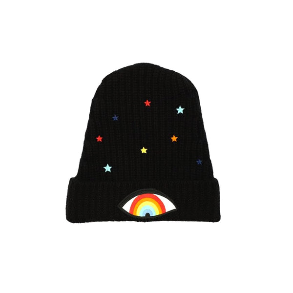 Rainbow  Eye Patch  Cashmere Slouch Beannie | Lauren Moshi | Fashion Accessories | Hats