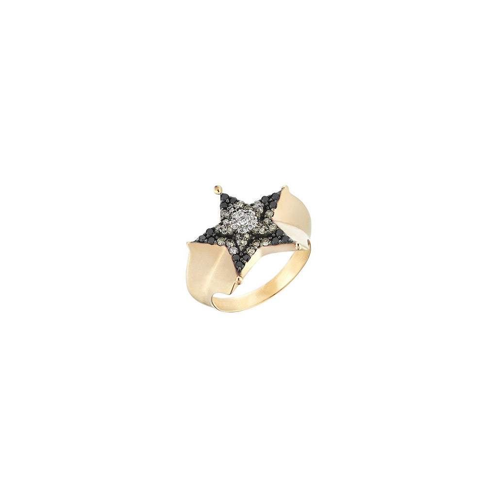 14K Rose Gold Sheriff Star 3 Color Ring | Kismet by Milka | Fine Jewelry Rings