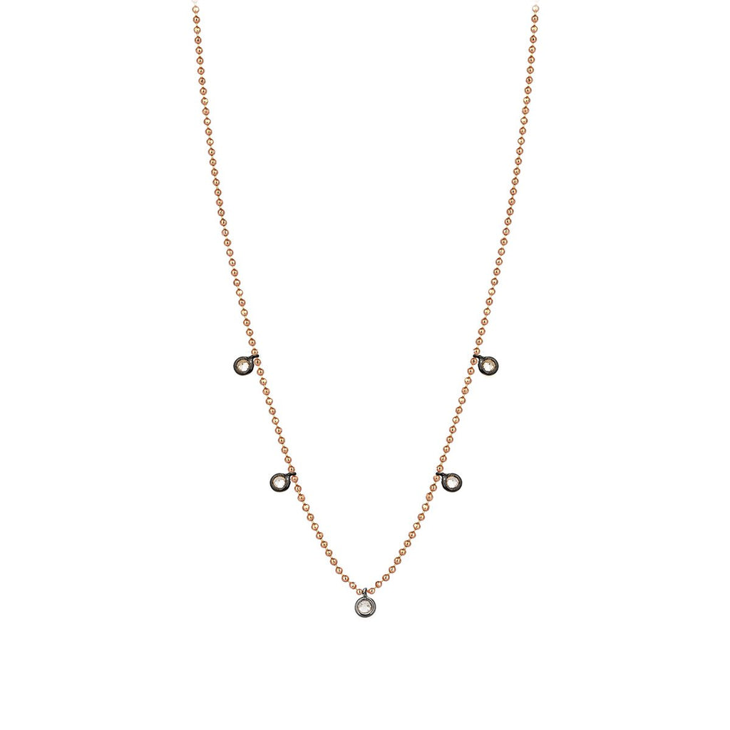 14K Rose Gold Five Solitairess Champagne Diamonds Necklace | Kismet by Milka | Fine Jewelry Necklace