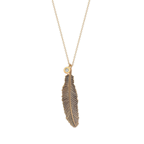 14K Rose Gold Large Raven Feather Necklace | Kismet by Milka | Fine Jewelry Necklace