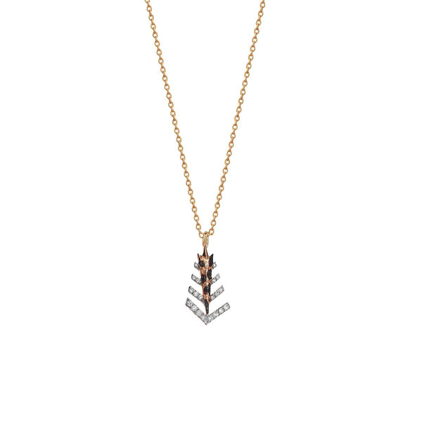 14K Rose Gold Dashes Arrow Head Necklace | Kismet by Milka | Fine Jewelry Necklace