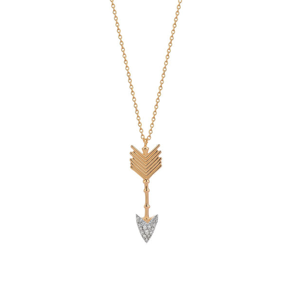 14K Rose Gold Large Arrow Necklace | Kismet by Milka | Fine Jewelry Necklace