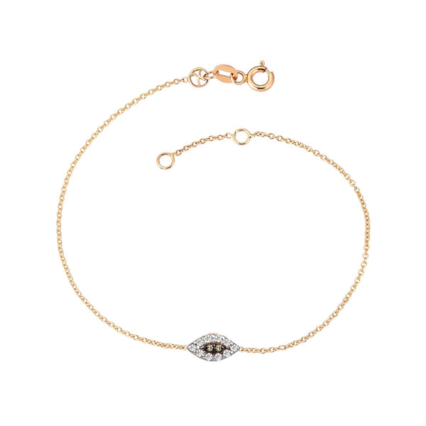 14K Rose Gold Mini Eye Haven Champagne Diamonds Bracelet | Kismet By Milka | Fine Jewelry | Bracelets