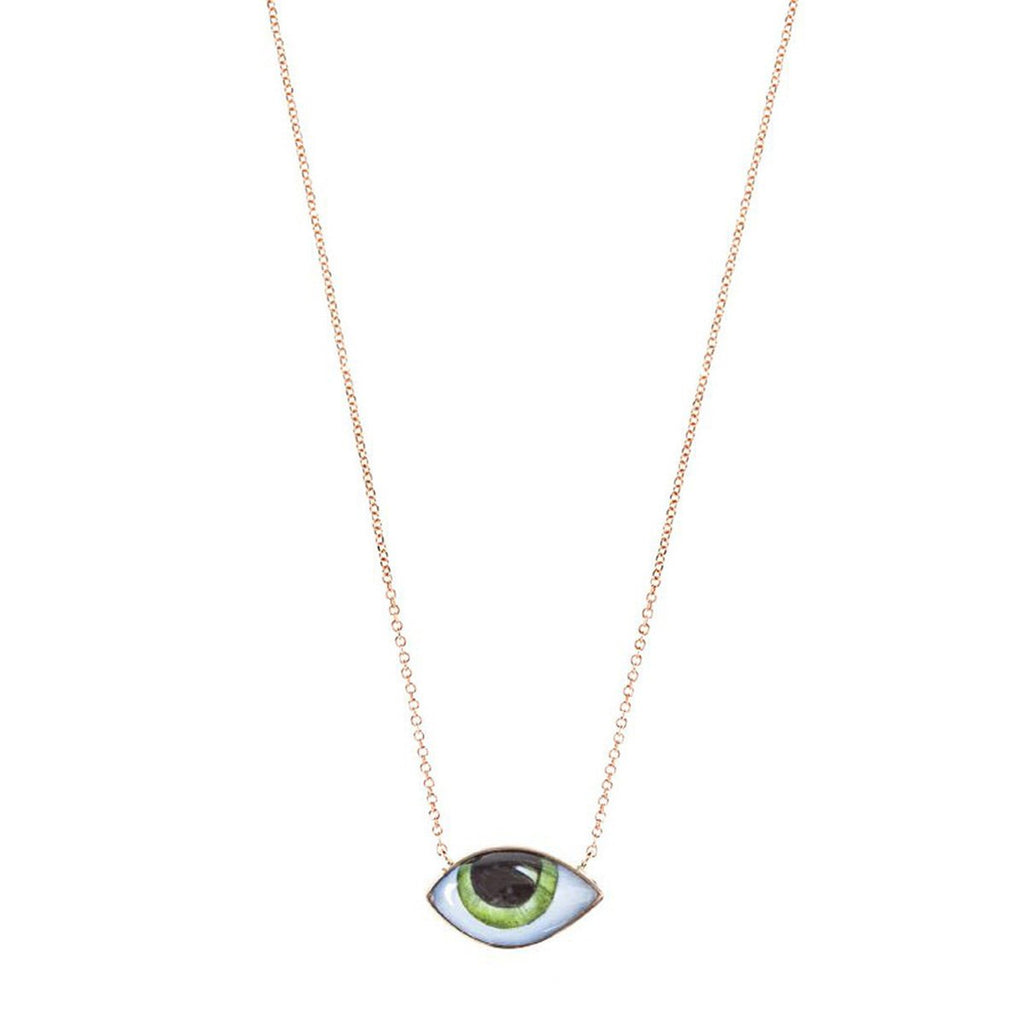 14K Rose Gold Petite Blue  Enamelled Eye Necklace | Lito | Fine Jewelry | Necklaces