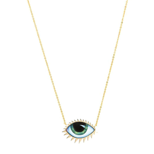 14K Gold Grand Geen Enamelled Necklace | Lito | Fine Jewelry | Necklaces