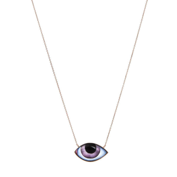 14K Rose Gold Grand Purple Enamelled Eye Necklace | Lito | Fine Jewelry | Necklaces