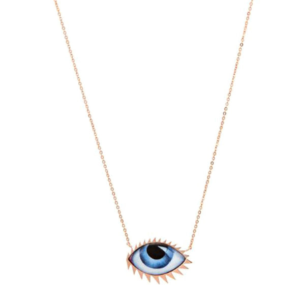 14K Rose Gold Grand Blue Enamelled Necklace | Lito | Fine Jewelry | Necklaces