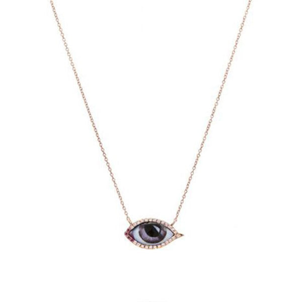 14K Rose Gold Petite Ruby And Diamond Eye Necklace | Lito | Fine Jewelry | Necklaces