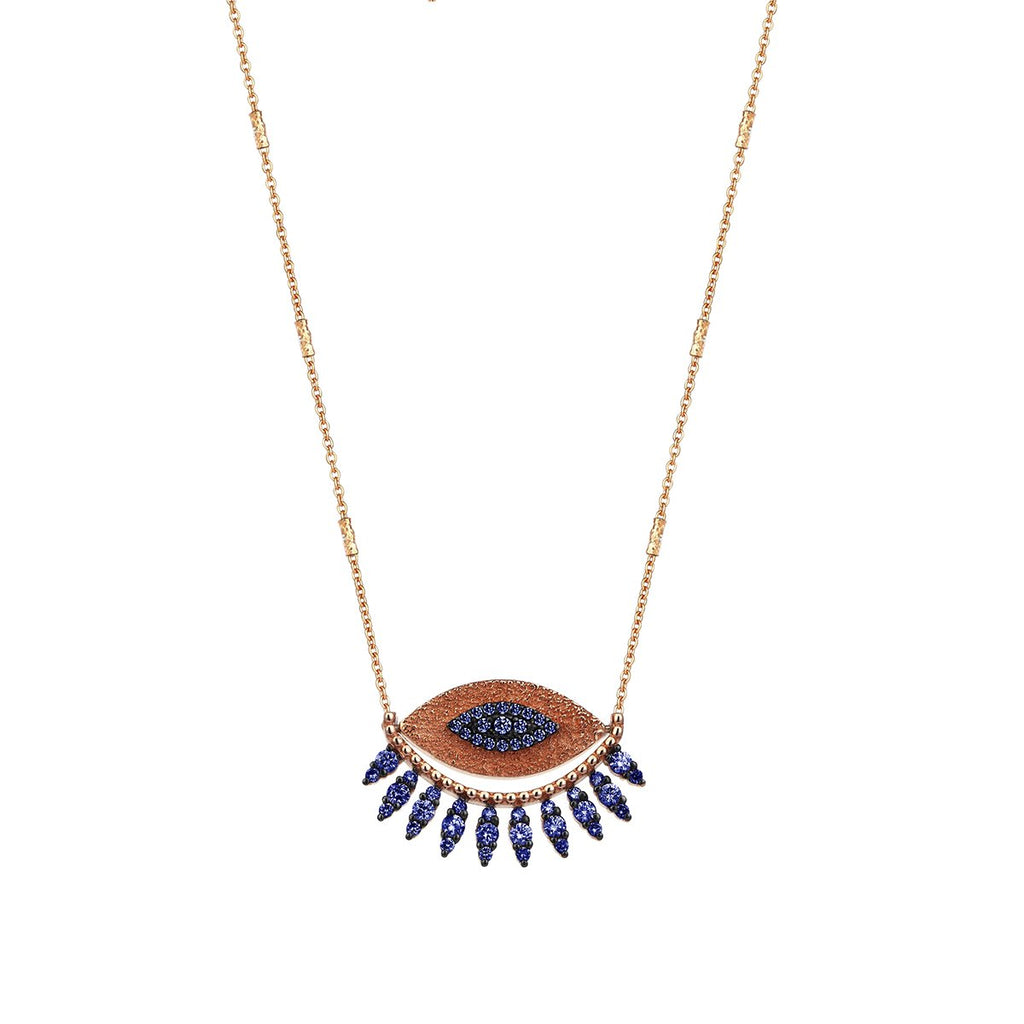 14K Rose Gold Evil Eye Sapphire Necklace | Kismet by Milka | Fine Jewelry Necklace