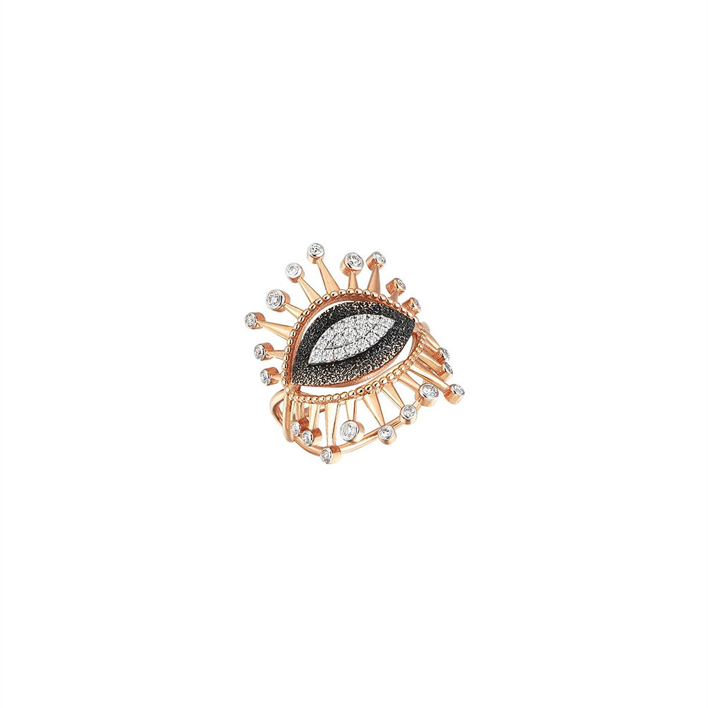 14K Roes Gold Evil Eye White Diamonds Ring | Kismet by Milka | Fine Jewelry Rings