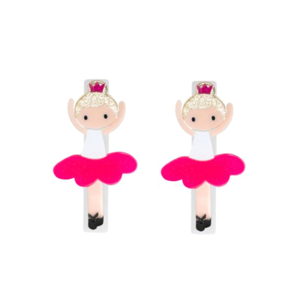 Alligator Clip Ballerina Neon Pink (Pair) | Lilies and Rose | Kids | Hair Accessories