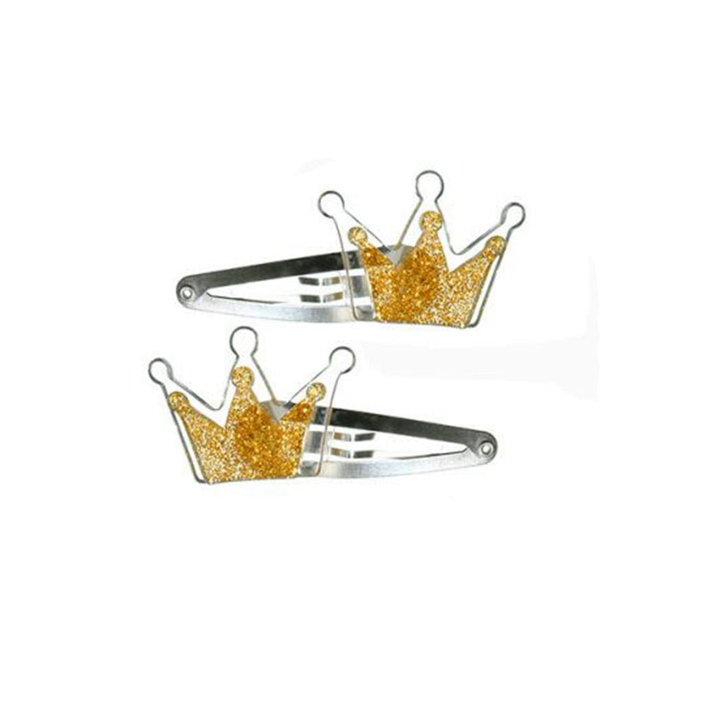 Clip Crown Gold (Pair) | Lilies and Rose | Kids | Hair Accessories