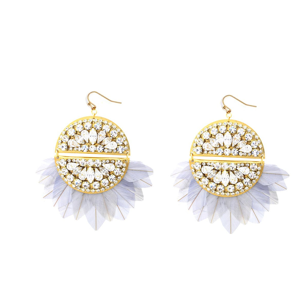 Round Feathers Fan Earrings | Sandy Hyun | Fashion Accessories | Earrings