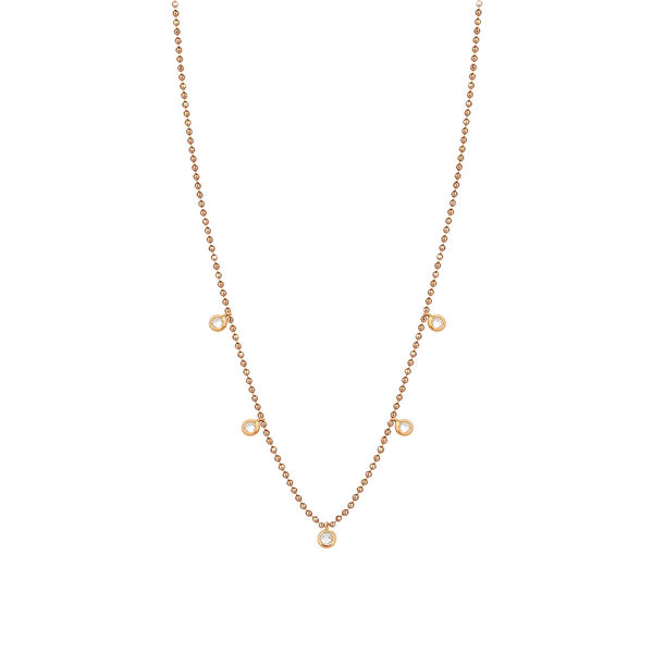 14K Rose Gold Solitaire Necklace | Kismet by Milka | Fine Jewelry Necklace