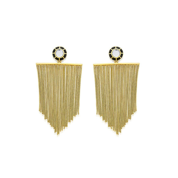 Translusent Black Resin Mirror Tassle Earrings | Isharya | Fashion Accessories | Earrings