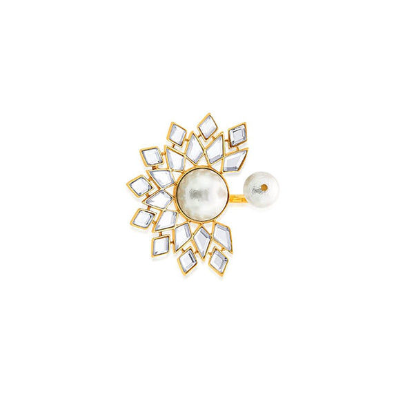 Mandala Mirror And Pearl Statement Open Ring | Isharya | Fashion Accessories | Ring
