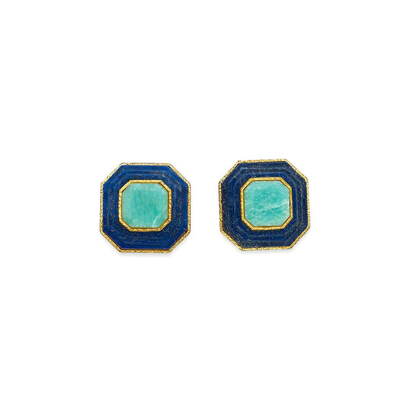 Noor Amazonite Stud Earrings | Isharya | Fashion Accessories | Earrings