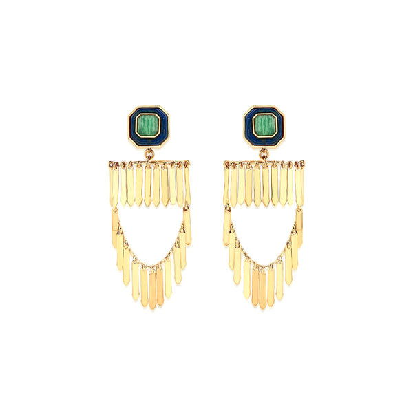 Noor Amazonite And Fringe Earrings | Isharya | Fashion Accessories | Earrings