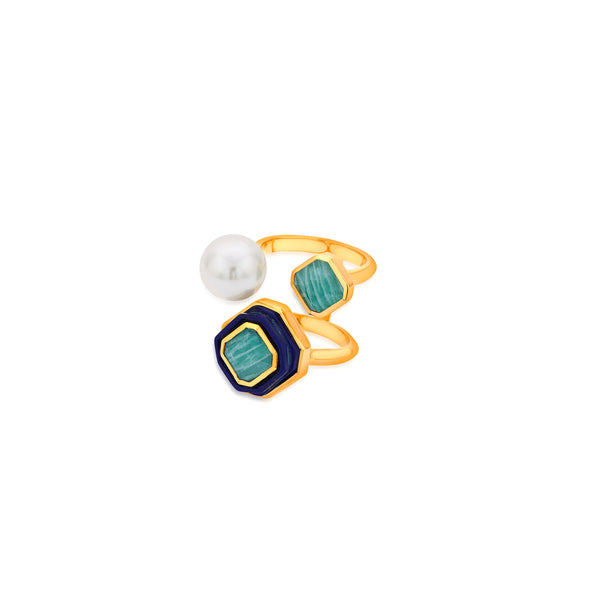 Noor Three Stone Ring | Isharya | Fashion Accessories | Ring
