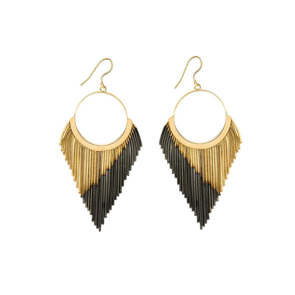 Fringe Brass Earrings |Iosselliani | Fashion Accessories |Earrings