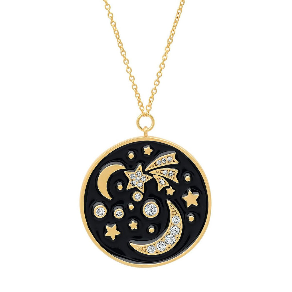 Navy Blue Celestial Pendant Necklace | Tai | Fashion Accessories | Necklace