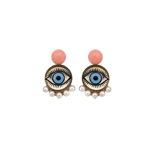 Pearl Fringe Eye Disc Earrings | Anton Heunis | Fashion Accessories | Earrings