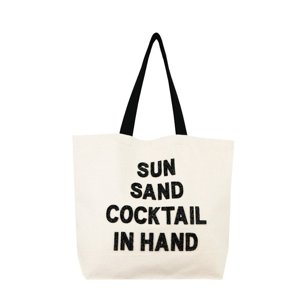 Sun Sand Cocktail In Hand Canvas Tote Bag | Fallon & Royce | Bag | Tote Bag