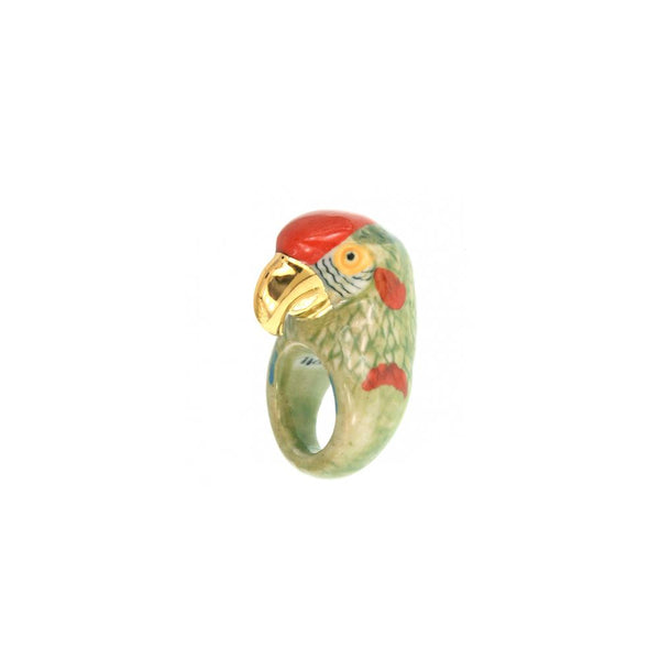 Gold And Green Parrot Ring | Nach Bijoux | Fashion Accessories | Ring