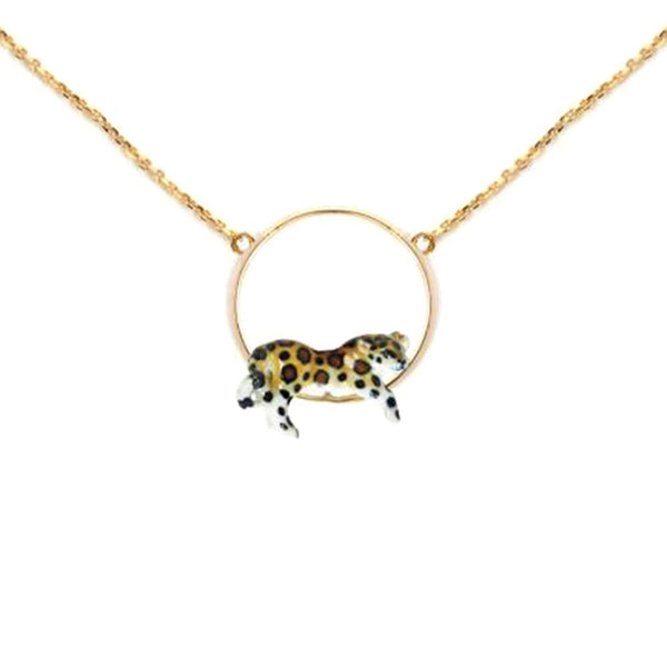 Lying Leopard Mini Round Necklace | Nach Bijoux | Fashion Accessories | Necklace