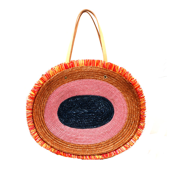 Pink Straw Basket Beach Bag | Exquisite J | Beach Bag | Bag