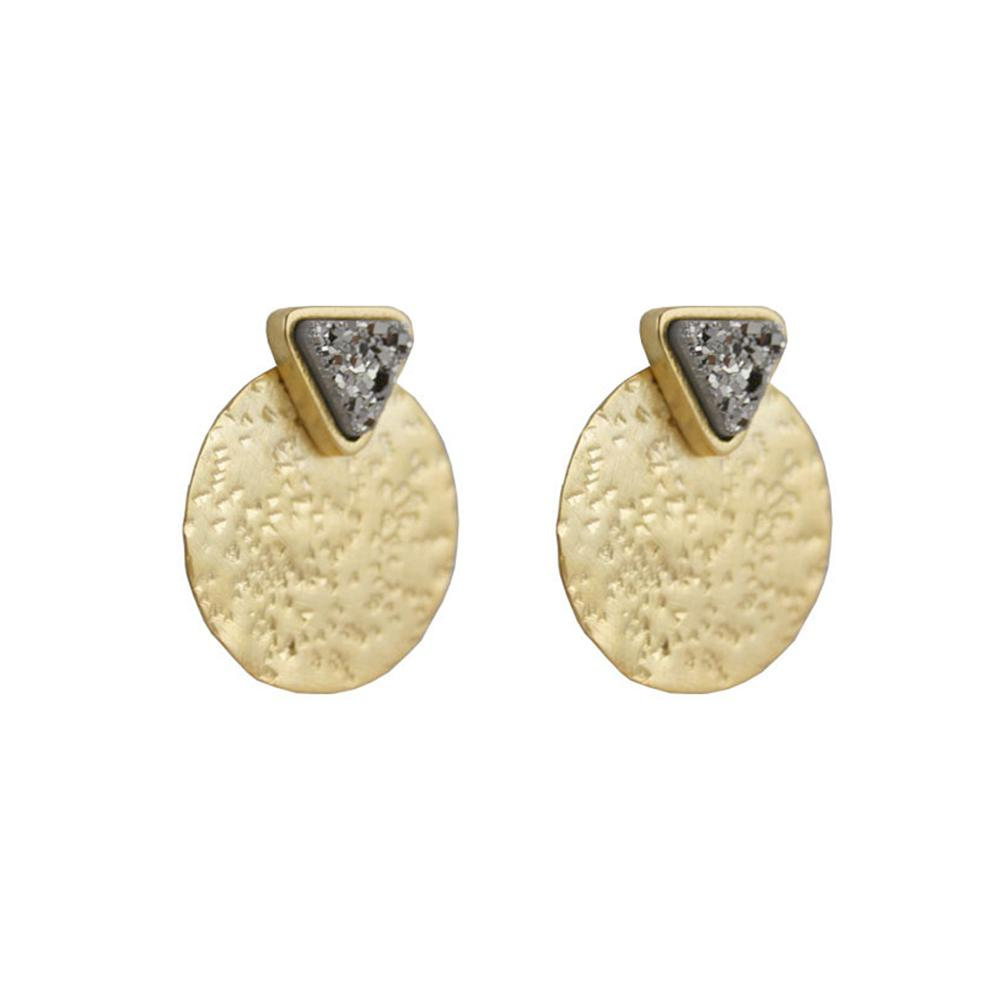 Coin With Triangular Post Earrings | Marcia Moran |Fashion Accessories | Earrings