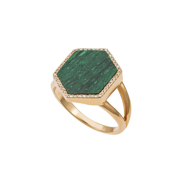 18K Gold Malachite Stone Ring | Latelier Nawbar | Fine Jewelry | Ring